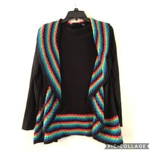Black and multi colored cardigan Size Small